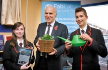 Fab Lab Welcomes Secretary Of State With Tweeting Plant